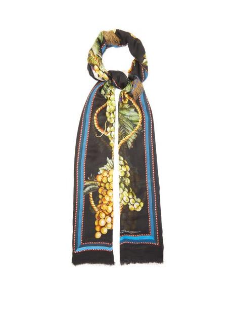 Dolce & Gabbana - Grape-print Modal-blend Scarf - Womens - Black Multi