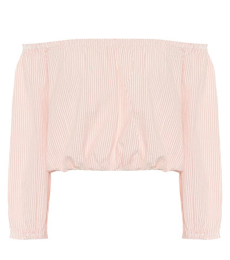 Melissa Odabash Danna off-shoulder cotton crop top in pink