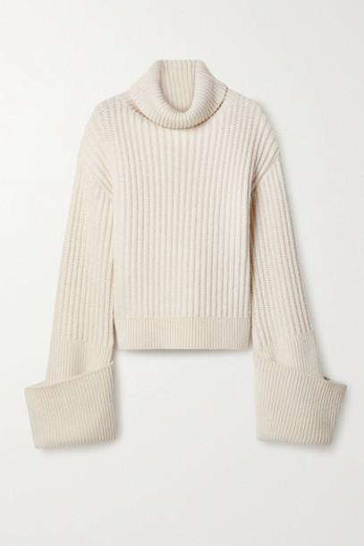 The Row - Aneke Oversized Ribbed Wool Turtleneck Sweater - Cream
