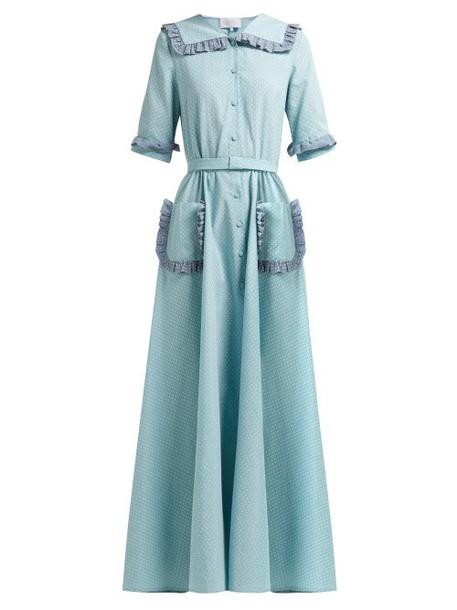 Luisa Beccaria - Ruffled Polka Dot Cotton Blend Midi Dress - Womens - Light Green