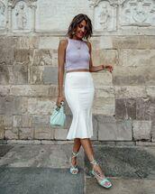 skirt,white skirt,midi skirt,sandal heels,bag,crop tops