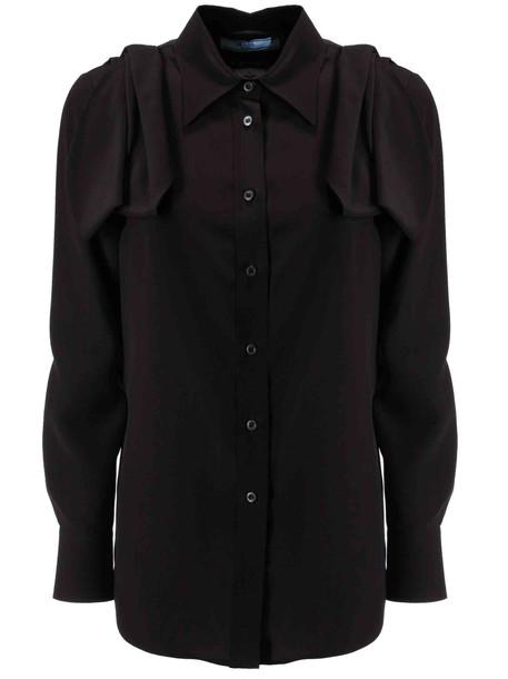 Prada Ruffled Detail Shirt in nero