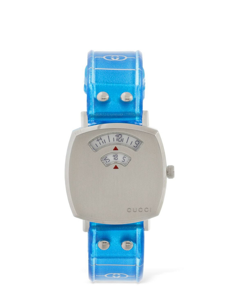 27mm Gucci Grip Watch W/ Rubber Strap in blue / silver