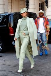 top,turtleneck,monochrome outfit,monochrome,celebrity,fashion week,streetstyle,pants,coat,zendaya