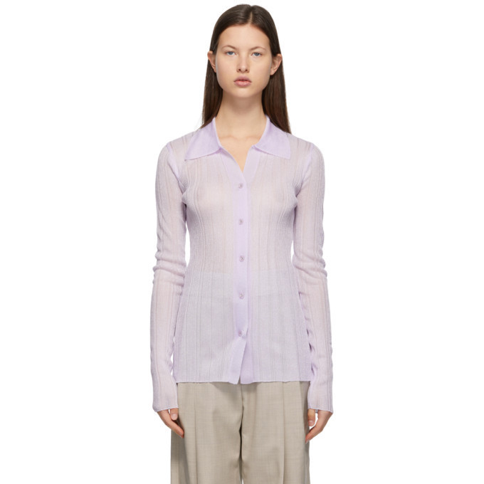 LOW CLASSIC Purple Slim Sparkling Shirt in violet