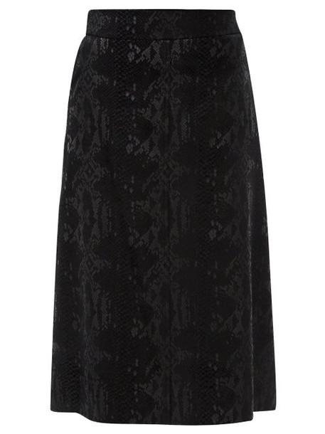 Saint Laurent - Scale-devoré Velvet Midi Skirt - Womens - Black