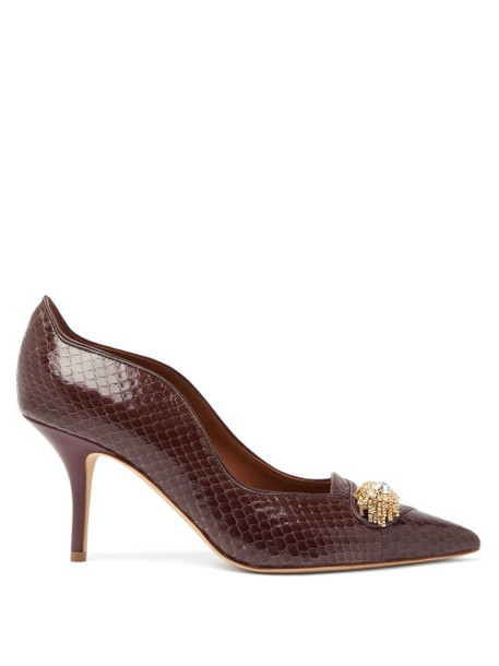 Malone Souliers - Alessia Crystal-brooch Elaphe Pumps - Womens - Brown