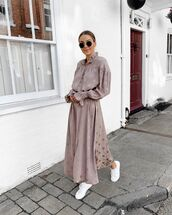 shoes,white sneakers,maxi dress,long sleeve dress,h&m