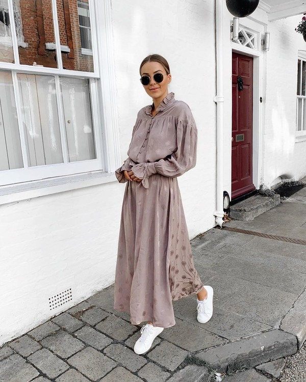 shoes white sneakers maxi dress long sleeve dress h&m
