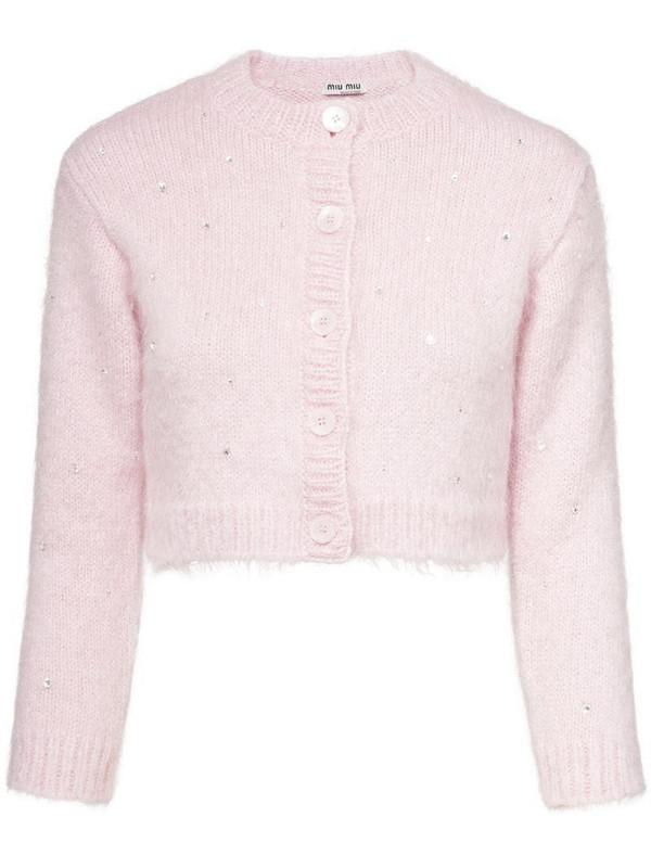 Miu Miu embellished cropped cardigan in pink