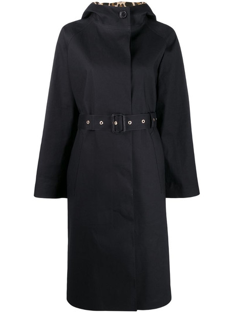 Mackintosh INVERURIE Black x Leopard Oversized Single Breasted Trench Coat - LR-1004
