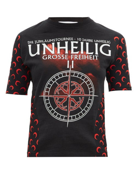 Marine Serre - Upcycled Unheilig Print Jersey T Shirt - Womens - Black Multi