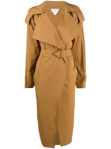 Bottega Veneta triangular-buckle long trench coat in brown
