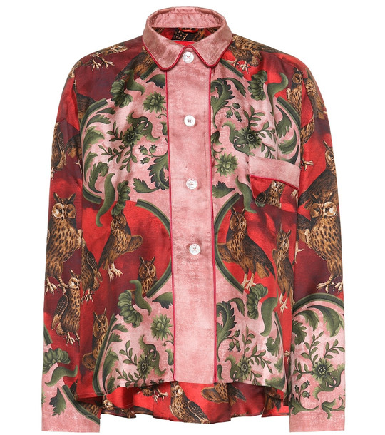 F.R.S For Restless Sleepers Ipno printed silk pajama top in red