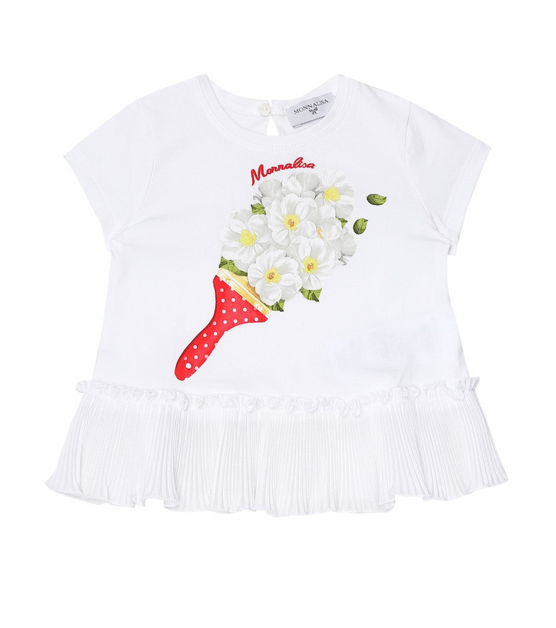 Monnalisa Baby printed stretch-cotton T-shirt in white