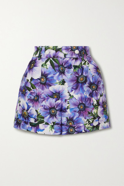 Dolce & Gabbana - Floral-print Cotton And Silk-blend Twill Shorts - Purple