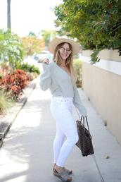 blonde bedhead,blogger,jeans,sunglasses,top,shoes,hat,bag