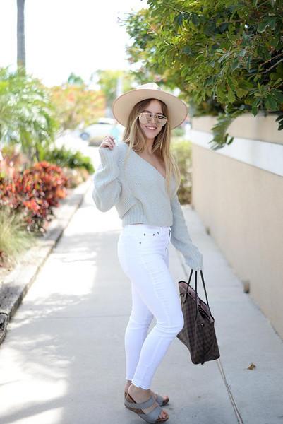blonde bedhead blogger jeans sunglasses top shoes hat bag