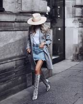 skirt,denim skirt,mini skirt,high waisted skirt,grey coat,knee high boots,snake print,heel boots,white top,hat,black bag