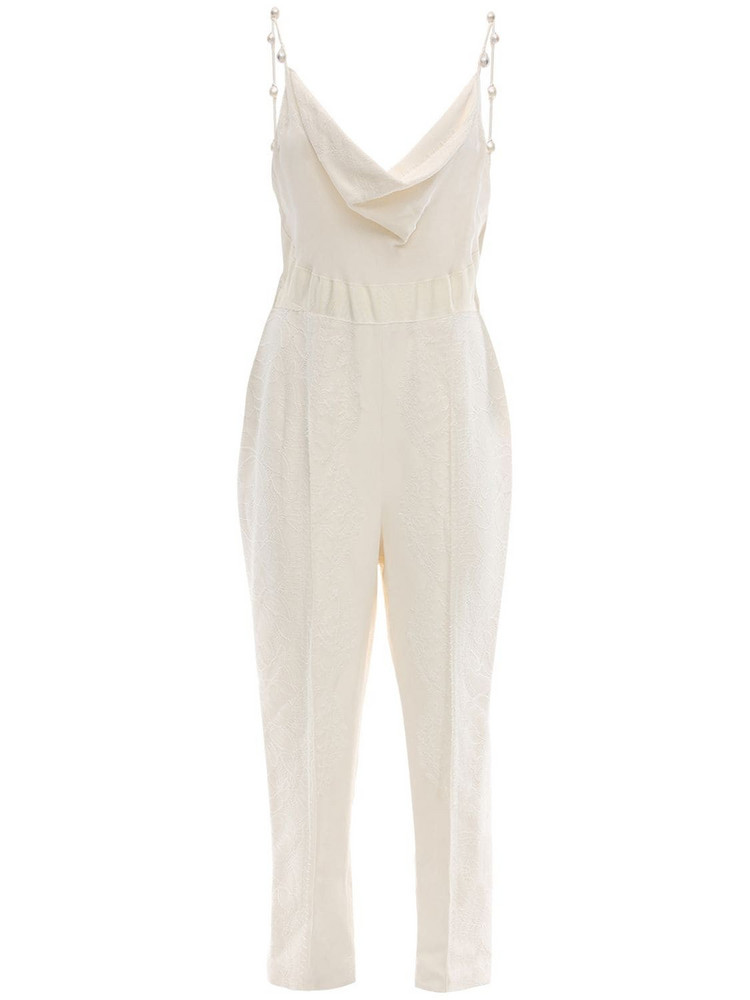 DANIELLE FRANKEL Silk Jumpsuit W/ Mother Of Pearl Detail in white