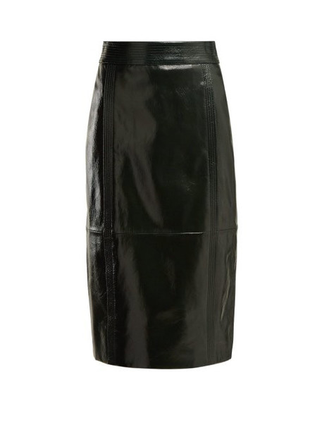 Givenchy - Buttoned Back High Rise Leather Pencil Skirt - Womens - Dark Green