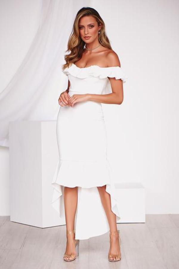 dress midi dress white frill maxi dress off the shoulder dress party dress formal dress prom dress homecoming dress