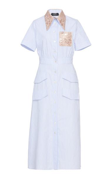 Rochas Onachom Striped Cotton Shirt Dress Size: 44