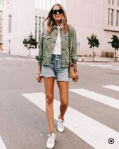 jacket,denim jacket,denim shorts,white t-shirt,white sneakers,bag
