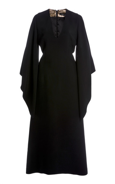 Andrew Gn Belted Crepe Dress in black