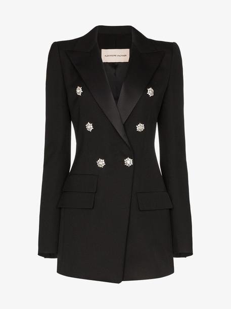 Alexandre Vauthier Crystal button wool blazer in black
