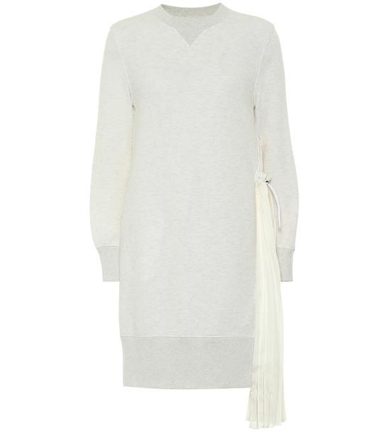 Sacai Cotton-blend jersey sweatshirt dress in grey