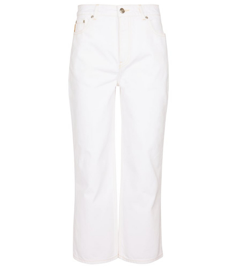 Ganni High-rise cropped jeans in white