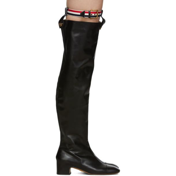 Thom Browne Black Nipped Toe Thigh High Boots