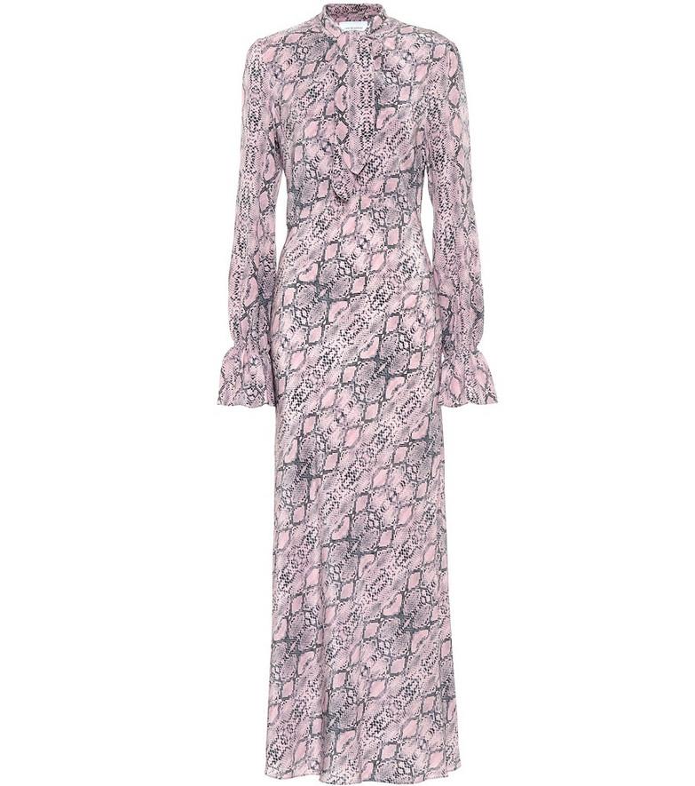 Les Rêveries Snake-print silk dress in pink