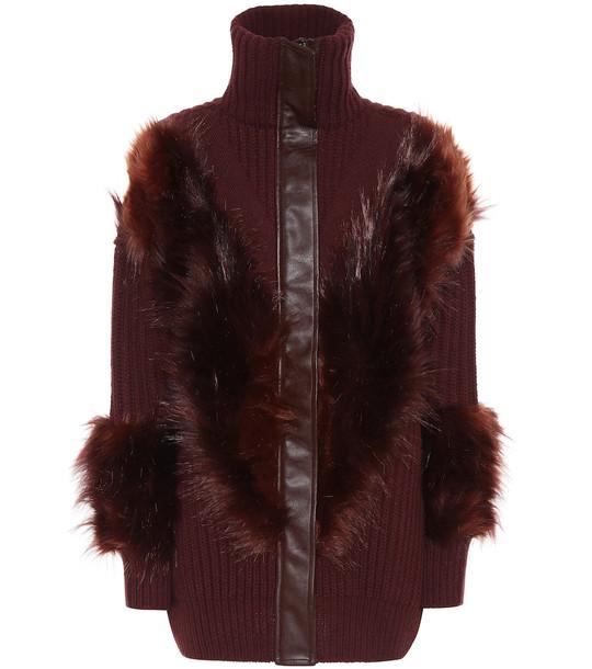 Stella McCartney Faux fur-trimmed wool cardigan in brown