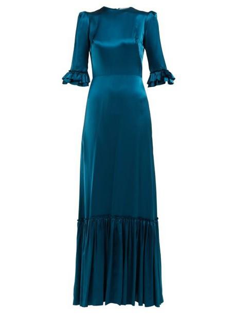 The Vampire's Wife - Festival Ruffle Trimmed Silk Dress - Womens - Mid Blue