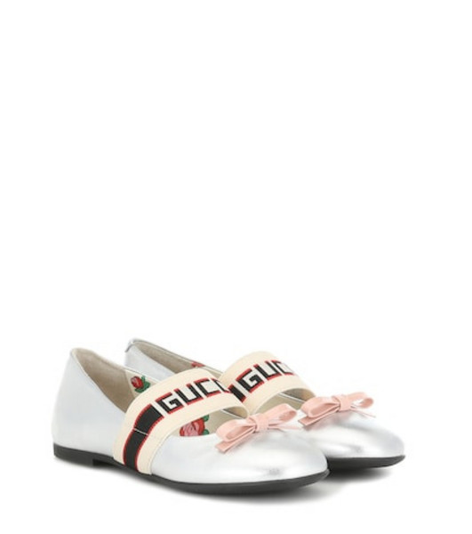 Gucci Kids Metallic leather ballet flats in silver