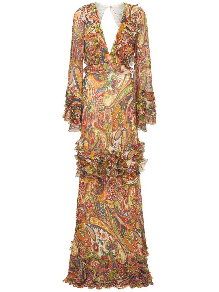 ETRO Printed Silk Dress W/open Back