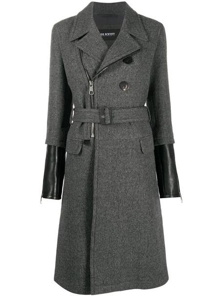 Neil Barrett contrast-cuff virgin wool coat in grey