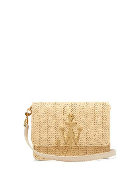 Jw Anderson - Logo Plaque Raffia And Leather Cross Body Bag - Womens - Beige