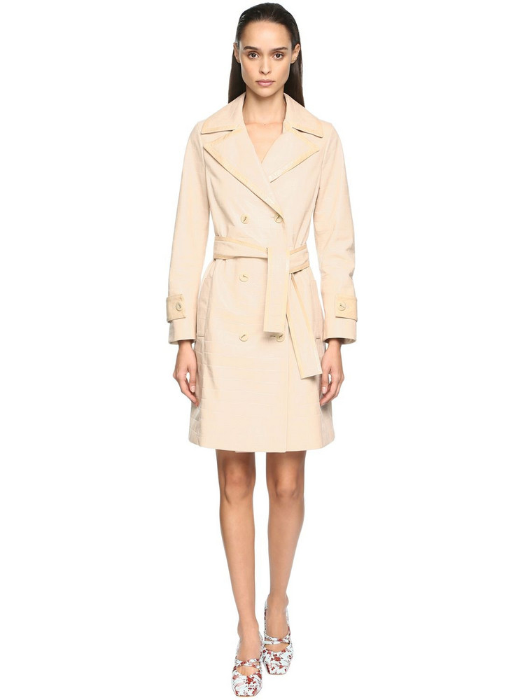 DROME Croc Embossed Leather Trench Coat in beige