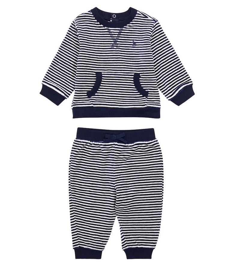 Polo Ralph Lauren Kids Striped sweatshirt and sweatpants set in blue
