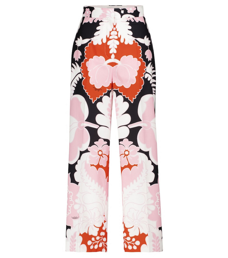 Valentino floral cotton high-rise wide-leg pants in pink