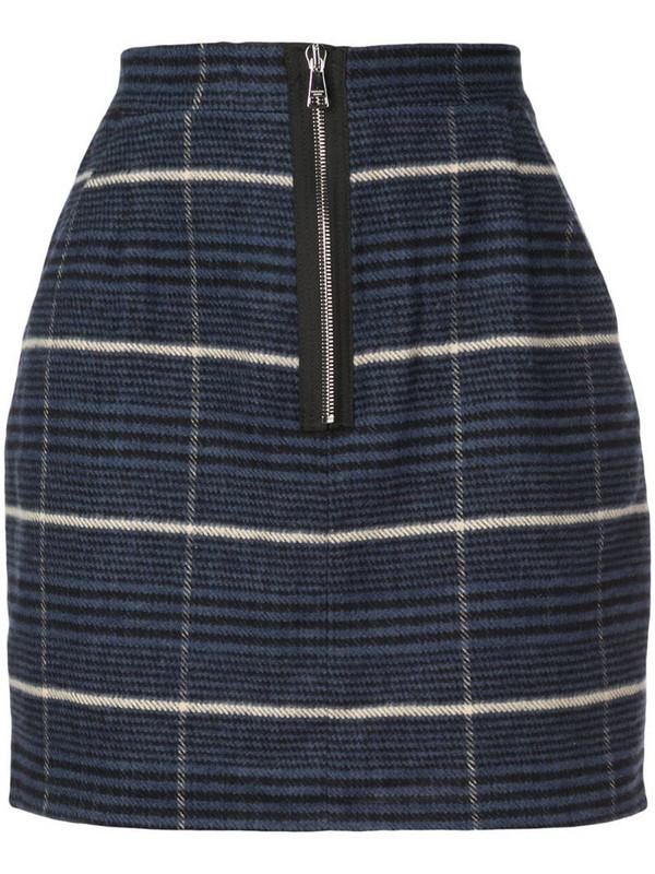 Natasha Zinko checked zip mini skirt in blue