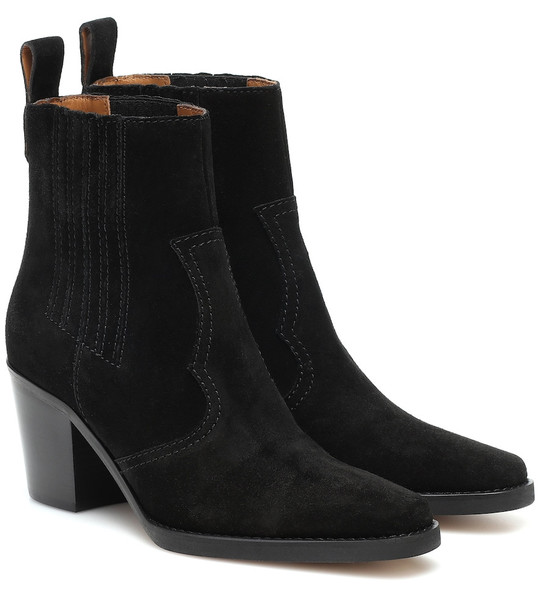 Ganni Western suede ankle boots in black