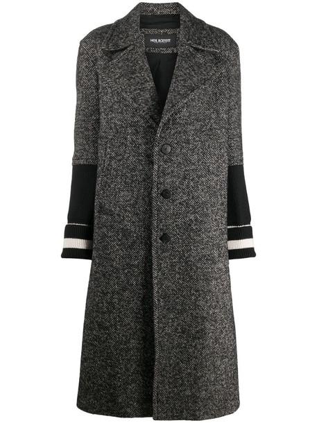 Neil Barrett stripe-detail mid-length coat in black