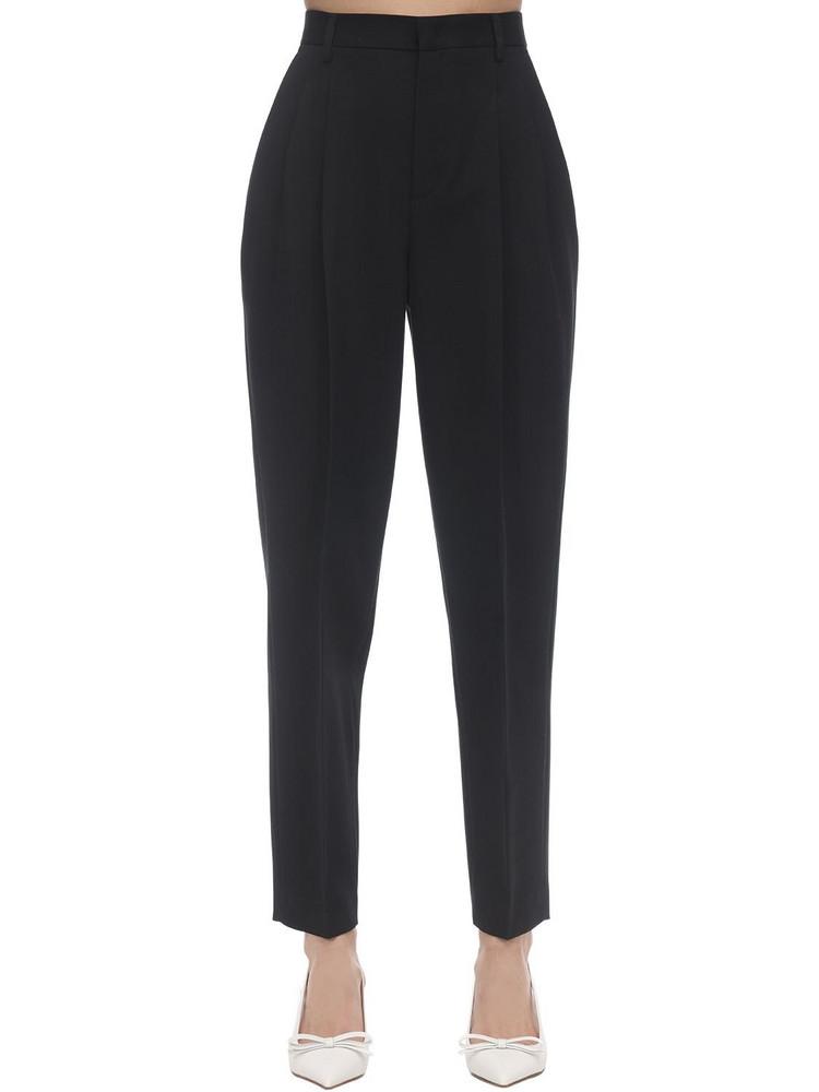 RED VALENTINO Cotton & Wool Gabardine Straight Pants in black