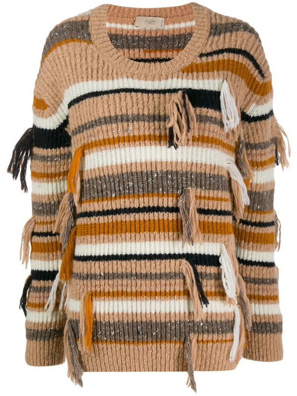 Maison Flaneur ribbed striped jumper in neutrals