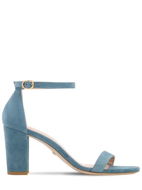 STUART WEITZMAN 80mm Nearly Nude Suede Sandals in blue