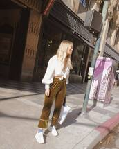 pants,velvet pants,olive green,white sneakers,socks,white shirt